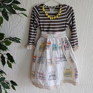 Sado 5T little girls boutique typewriter dress